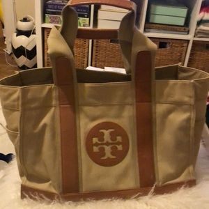 Tory Burch Tan tote with brown leather